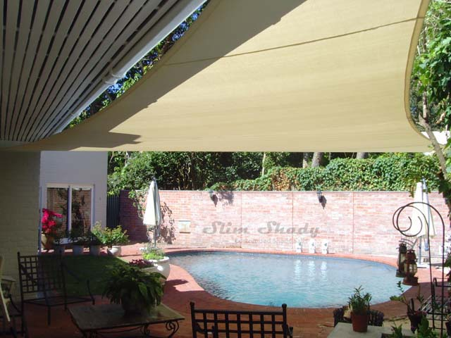 Cream poolside shade sail
