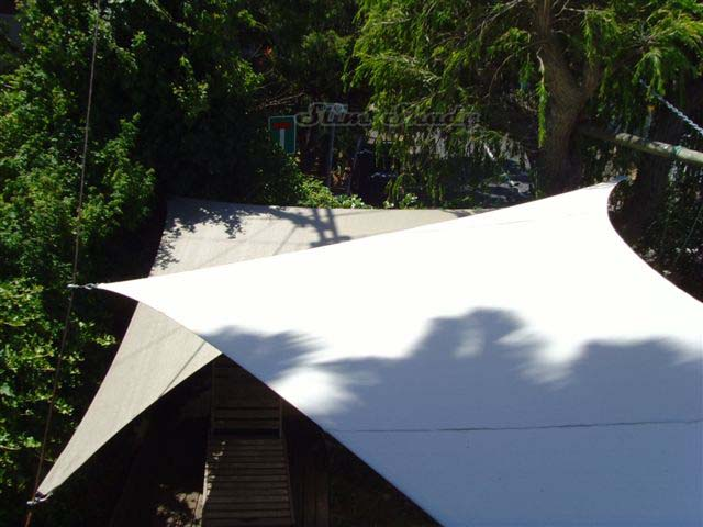 Overlapping shade sails