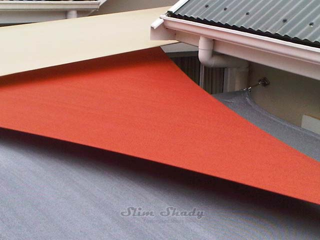 Burnt orange courtyard shade sail